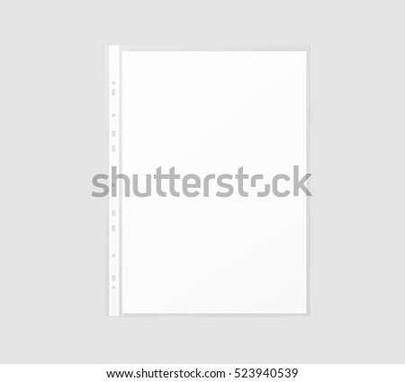 Blank white A4 paper sheet mockup in transparent plastic sleeve, 3d rendering. Cellophane document protector pocket mock up.