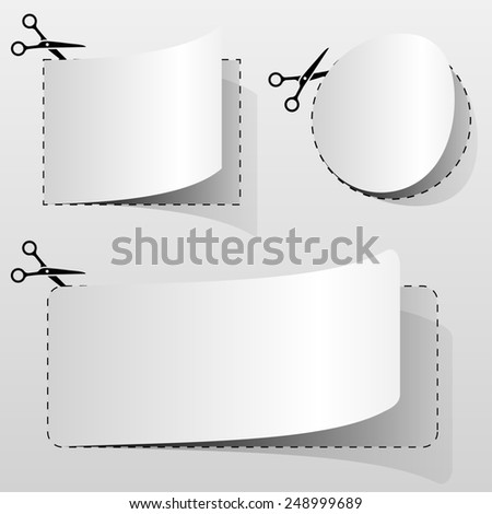 Blank white advertising coupon cut from sheet of paper. - stock photo