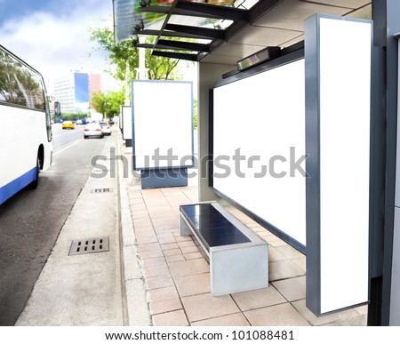 Blank white advertising Sign at Bus station in the city - stock photo