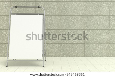Blank white advertising stand, with copy space board in front of concrete wall. 3D illustration isolated on white background - stock photo