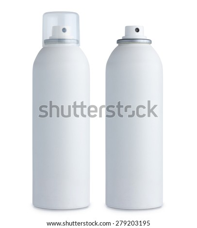Blank white aluminum spray can, with cap and without, closed and open, isolated on white background - stock photo