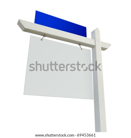 Blank White and Blue Real Estate Sign Isolated on a White Background. - stock photo