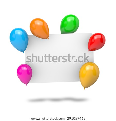 Blank White Badge with Vibrant Color Balloons Isolated on White Background 3D Illustration - stock photo