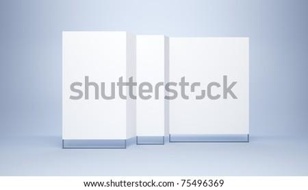 blank white banner, 3d render - stock photo