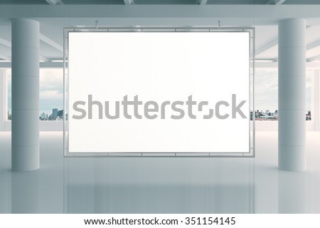 Blank white banner in modern empty open space office with big windows and pillars, mock up 3D Render - stock photo