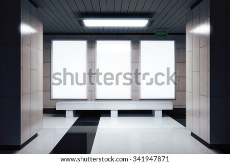 Blank white banners on the wall in empty subway hall, mock up 3D Render - stock photo