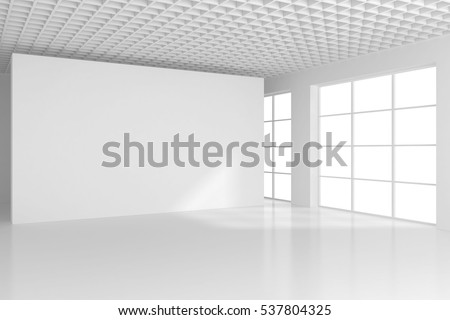 Blank white billboard in empty room with big windows, mock up, 3D Rendering.