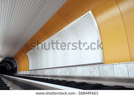 Blank white billboard in metro station, mock up 3D Render - stock photo