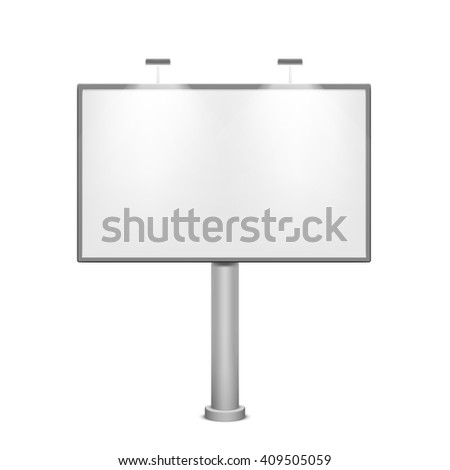 Blank white billboard. Metal construction for advertising. Isolated on white background. Stock illustration. - stock photo