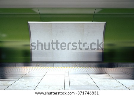 Blank white billboard on green wall in the subway with mooving people, mock up 3D Render - stock photo