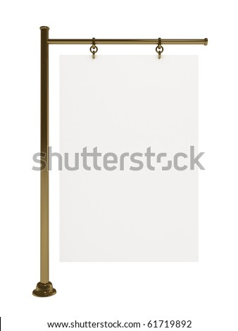 Blank white board for advertisement, golden stand, isolated on white, 3d illustration - stock photo