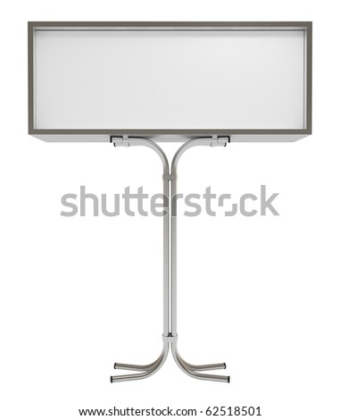 Blank white board for advertisement, isolated on white, 3d illustration - stock photo