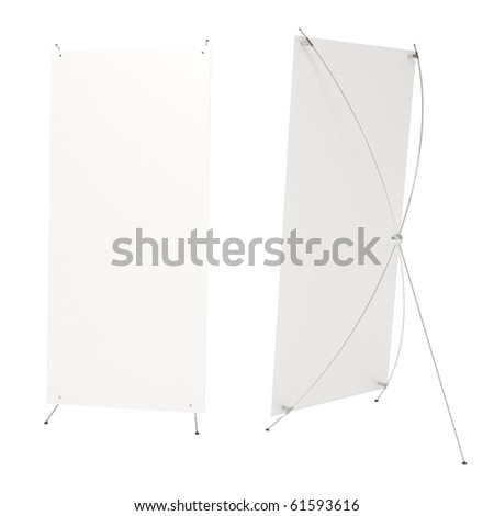 Blank white board for advertisement, stretching banner, front and back, isolated on white, 3d illustration - stock photo