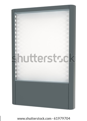 Blank white board for advertisement, with lights, isolated on white, 3d illustration - stock photo