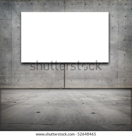 Blank white board in a grungy concrete room - stock photo