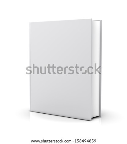 Blank white book cover - isolated on white background - stock photo