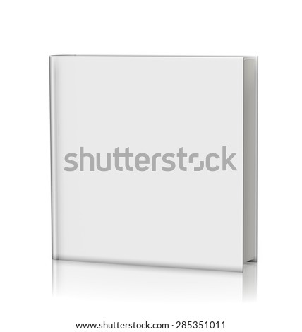 Blank white book hardcover - isolated on white background - stock photo