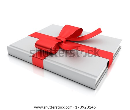 blank white book lying as gift with red ribbon isolated on white background