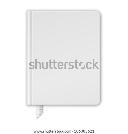 Blank White Book Or Notebook Template. Raster Version - stock photo