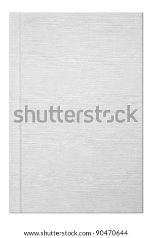 Blank white book with linen texture - stock photo