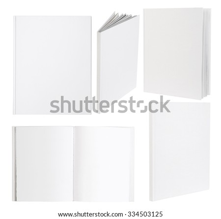 Blank white books isolated on white background - stock photo