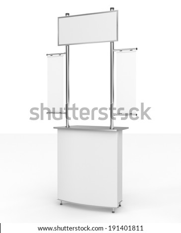 blank white booth or kiosk with banners - stock photo