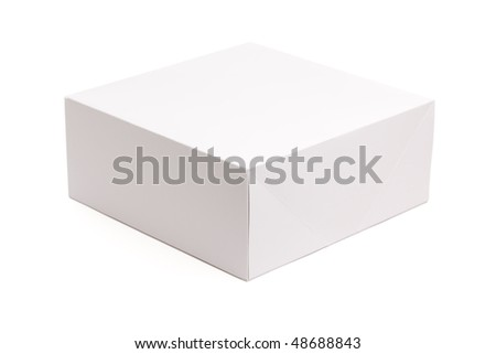 Blank White Box Isolated on a White Background Ready for Your Own Graphics. - stock photo