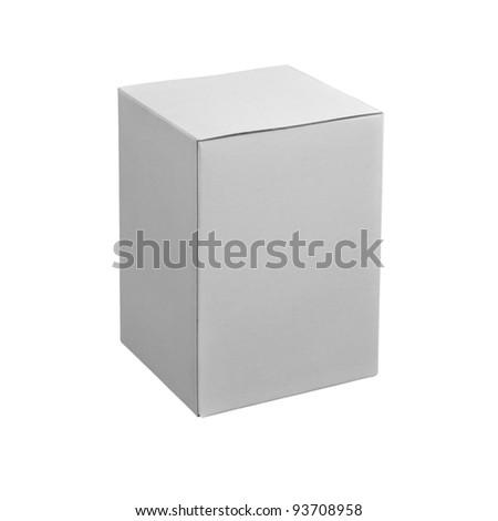 Blank white box isolated on white background - stock photo