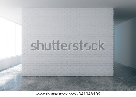 Blank white brick wall with copyspace on loft style empty room with concrete floor 3D Render - stock photo