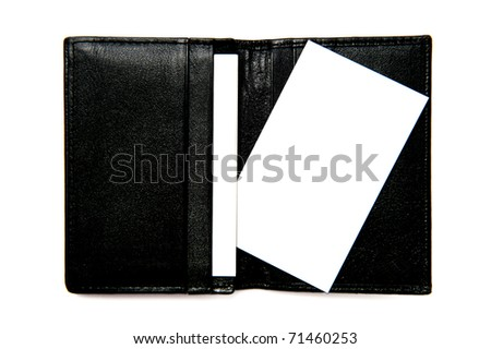 Blank white business card in black leather card pocket