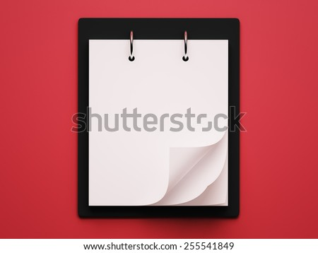 Blank White Calendar isolated on red background - stock photo