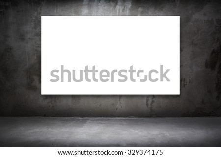 Blank white Canvas poster at dark cement room