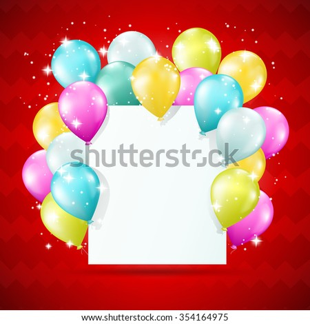 blank white card with balloons and sparkles on red background. JPG version - stock photo