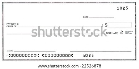 Blank white check with fake numbers. - stock photo