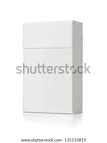 Blank white cigarette package isolated on white background with copy space - stock photo