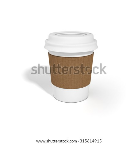Blank white coffee cup with cardboard holder isolated with shadow on clean white background. Ready for mock up, add logo.