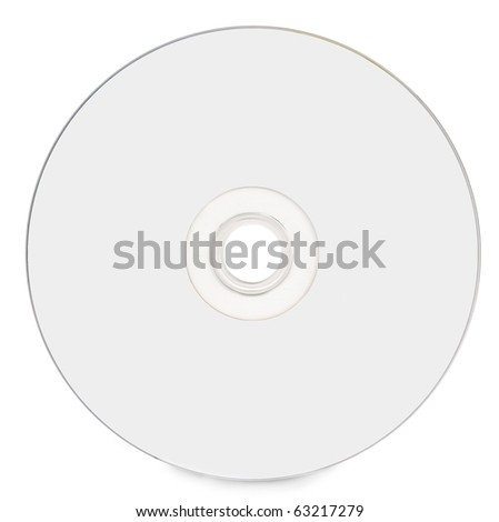 Blank white compact disc on white background