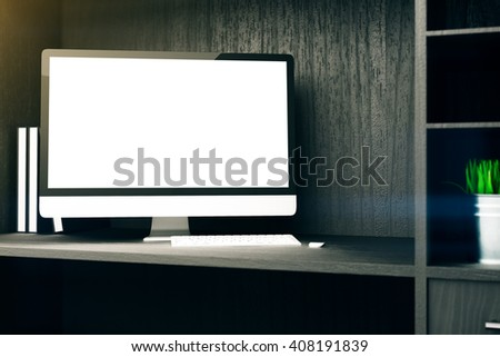 Blank white computer display on wooden cupboard shelf. Mock up, 3D Rendering - stock photo