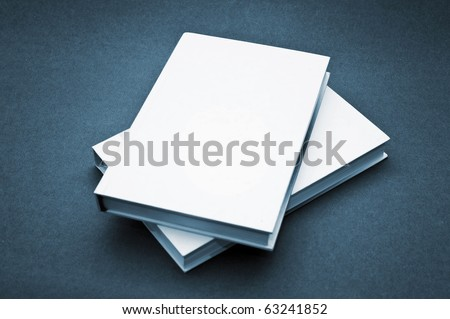 Blank white cover book over a blue background