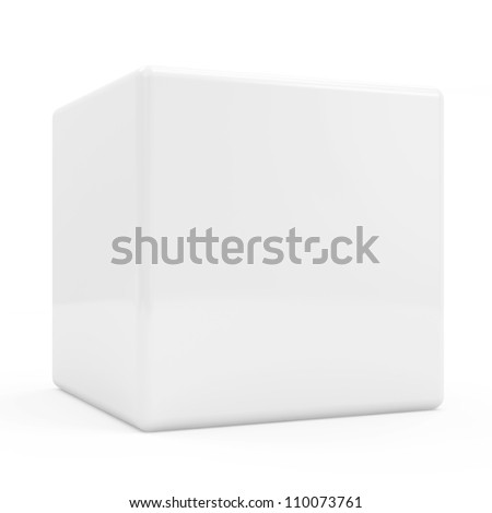 Blank White Cube isolated on white background - stock photo