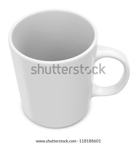 Blank White Cup isolated on white background - stock photo