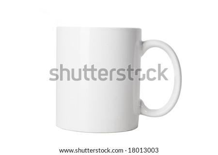 blank white cup on white ground - stock photo