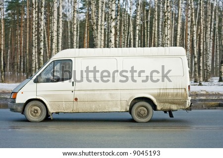 """blank white delivery van truck deliver goods of my """"business vehicles"""" series - stock photo"""