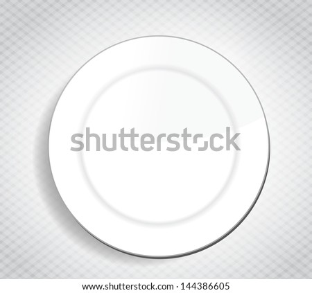 blank white dinner plate over a cloth illustration