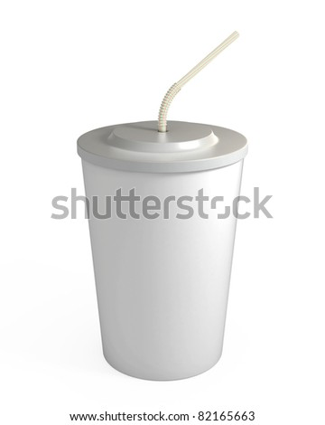 Blank white disposable cup with straw, isolated on white, with clipping path, 3d illustration - stock photo