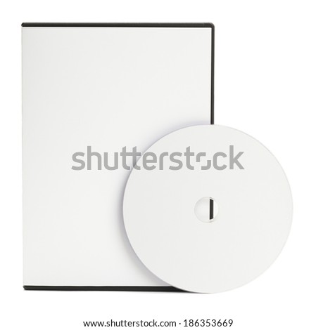 Blank White DVD Case with Blank Disc Isolated on White Background. - stock photo