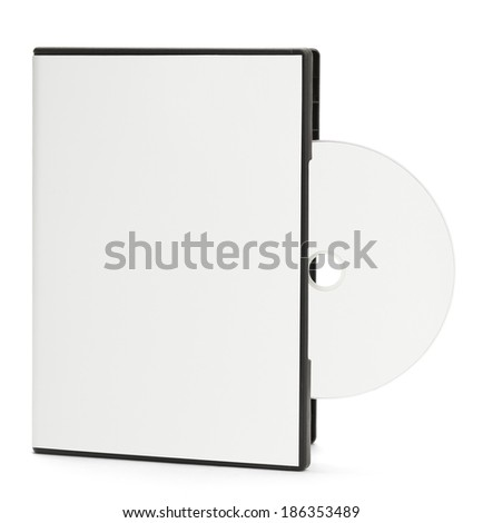 Blank White DVD Case with Blank Disc Sticking Out Isolated on White Background. - stock photo