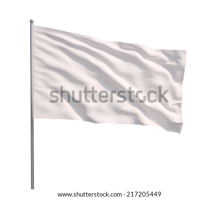Blank white flag. 3d illustration on white background  - stock photo