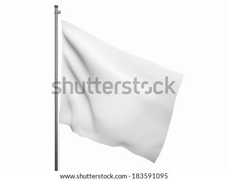 Blank white flag. 3d render isolated on white background - stock photo