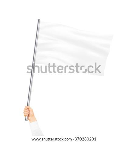 Blank white flag mock up isolated holding in hand. Large wavy flagpole mockup ready for logo design presentation. Surrender symbol empty banner. Pole flag hold in hand. Surrending clear signpost. - stock photo